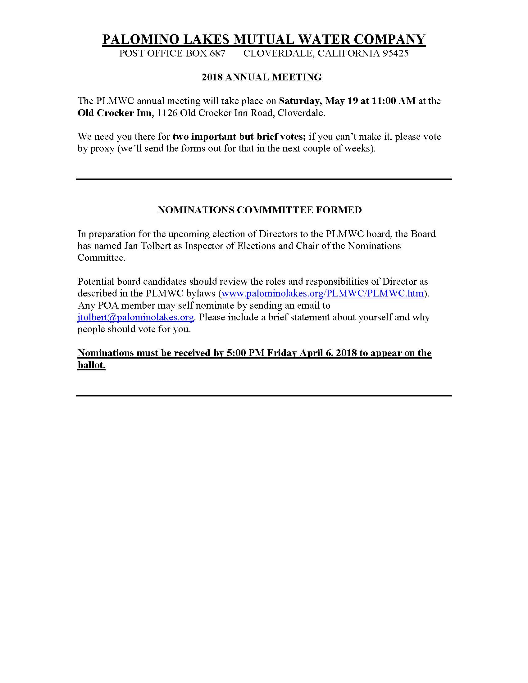 Palomino lakes mutual water company plmwc website notice of 2018 annual meeting election and call for nominations solutioingenieria Gallery